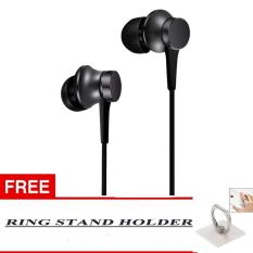 100% Xiaomi In Ear Piston Mi Original 3rd Gen In Ear Handsfree/Headset + Bonus Ring Standing Holder Warna Random - Hitam
