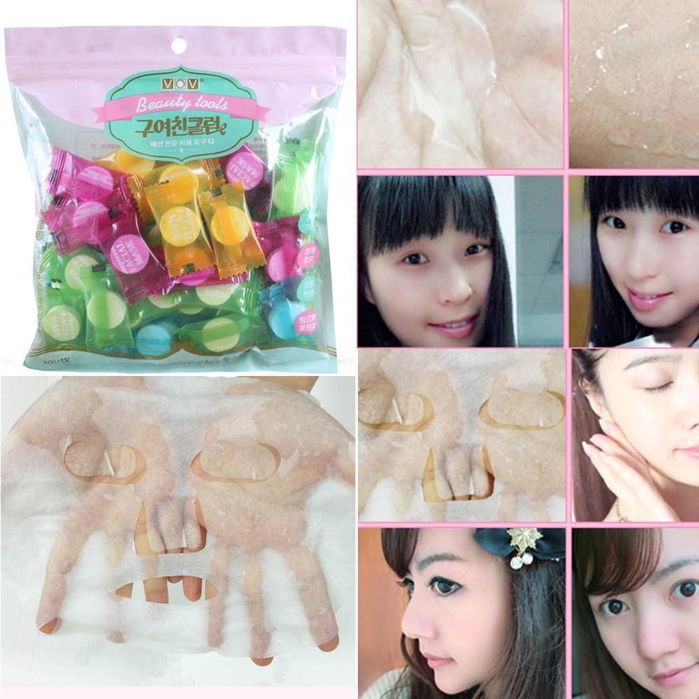 Cuci Gudang 100Pcs Beauty Tool Fibre Skin Care Paper Diy F*c**l Compressed Tablet Paper Mask Intl