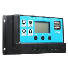 10/20/30A 12/24 V LCD PWM Solar Charge Controller Regulator Baterai 2 USB Backlit 20A -Intl