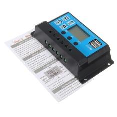10/20/30A 12/24 V LCD PWM Solar Charge Controller Regulator Baterai 2 USB Backlit- INTL
