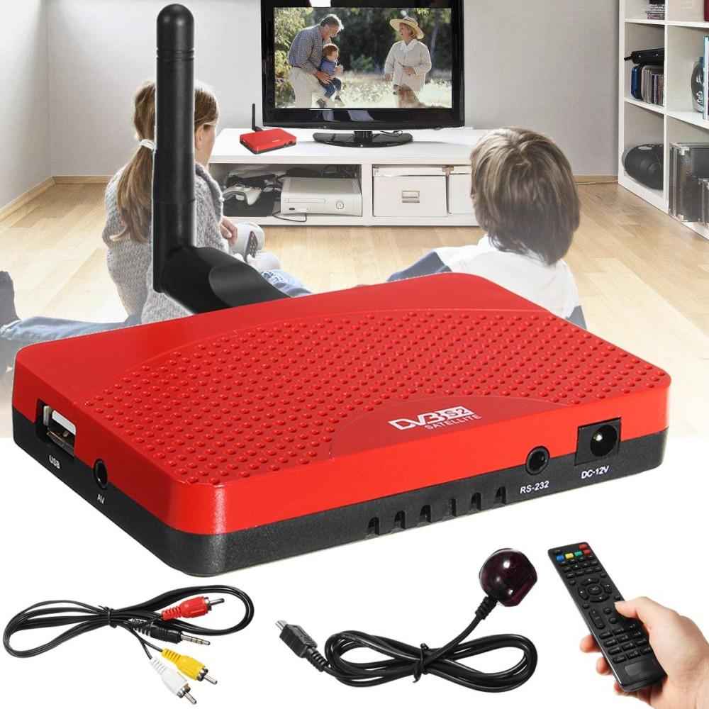 1080 P Dvb-s2 HD Digital Satelit + Combo TV Box Receiver + USB Dongle Wifi Uni Eropa-Internasional