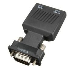 1080 P VGA Pria untuk HDMI Wanita Adaptor Konektor Konverter dengan Audio USB Kabel-Internasional
