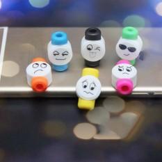 10 Pcs Lucu Emoji Pengisi Daya Kabel USB Saver Pelindung untuk Apple iPhone Acak Warna-Internasional