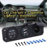 Harga 12 V 24 V Mobil Ganda Charger Usb Adaptor Daya Pemantik Api Pengukur Tegangan Volt International Yang Murah Dan Bagus