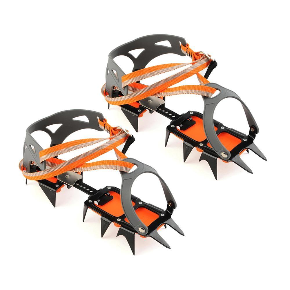 Spesifikasi 14 Point Baja Mangan Peralatan Pendakian Crampon Es Grippers Crampon Perangkat Traksi Mountaineering Perjalanan Gletser Es Berjalan Internasional Baru