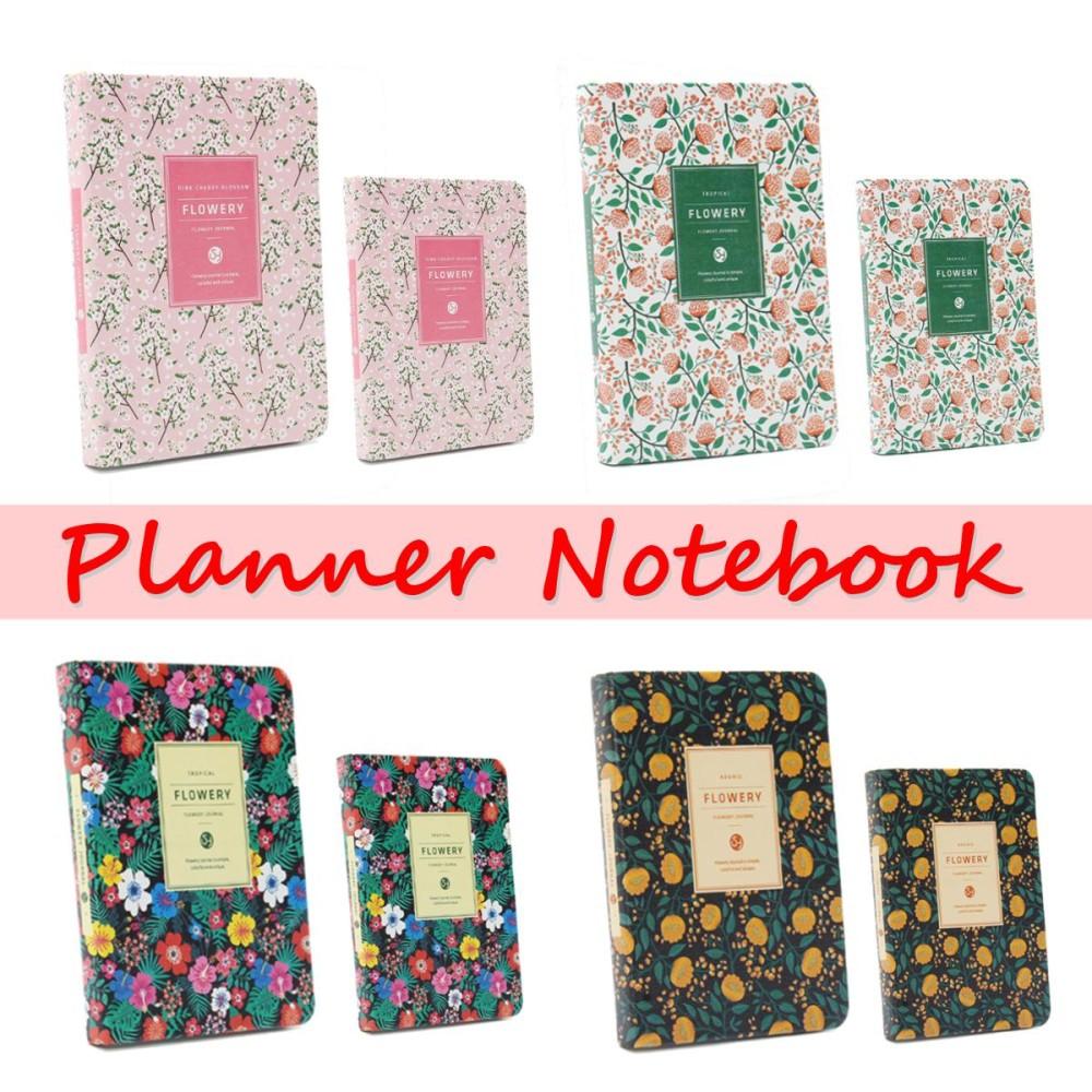 148mm * 110mm PU Kulit Bunga Perencana Agenda Jadwal Diary Mingguan Bulanan Notebook-Intl