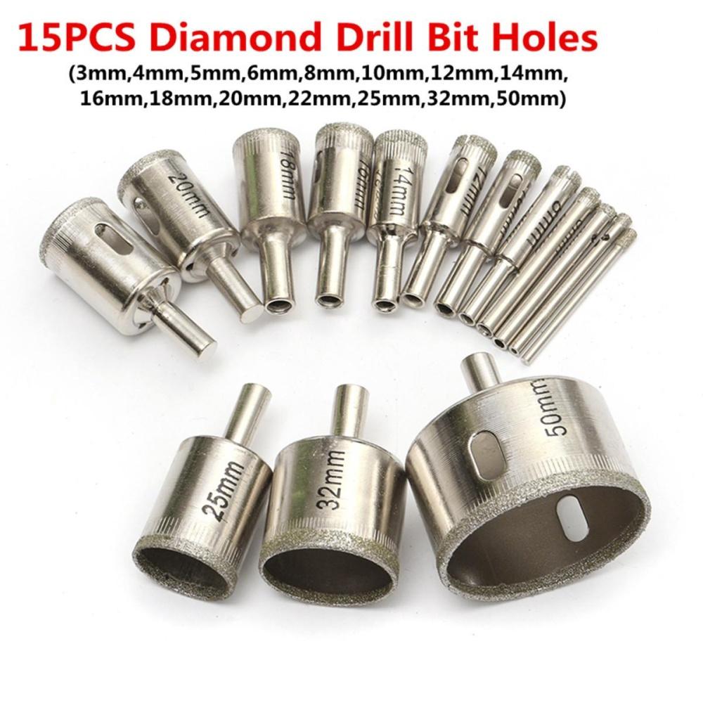 Jual 15 Pcs 3Mm 50Mm Diamond Lubang Mata Bor Gergaji Pemotong Alat Untuk Kaca Marmer Granit Intl Not Specified Grosir