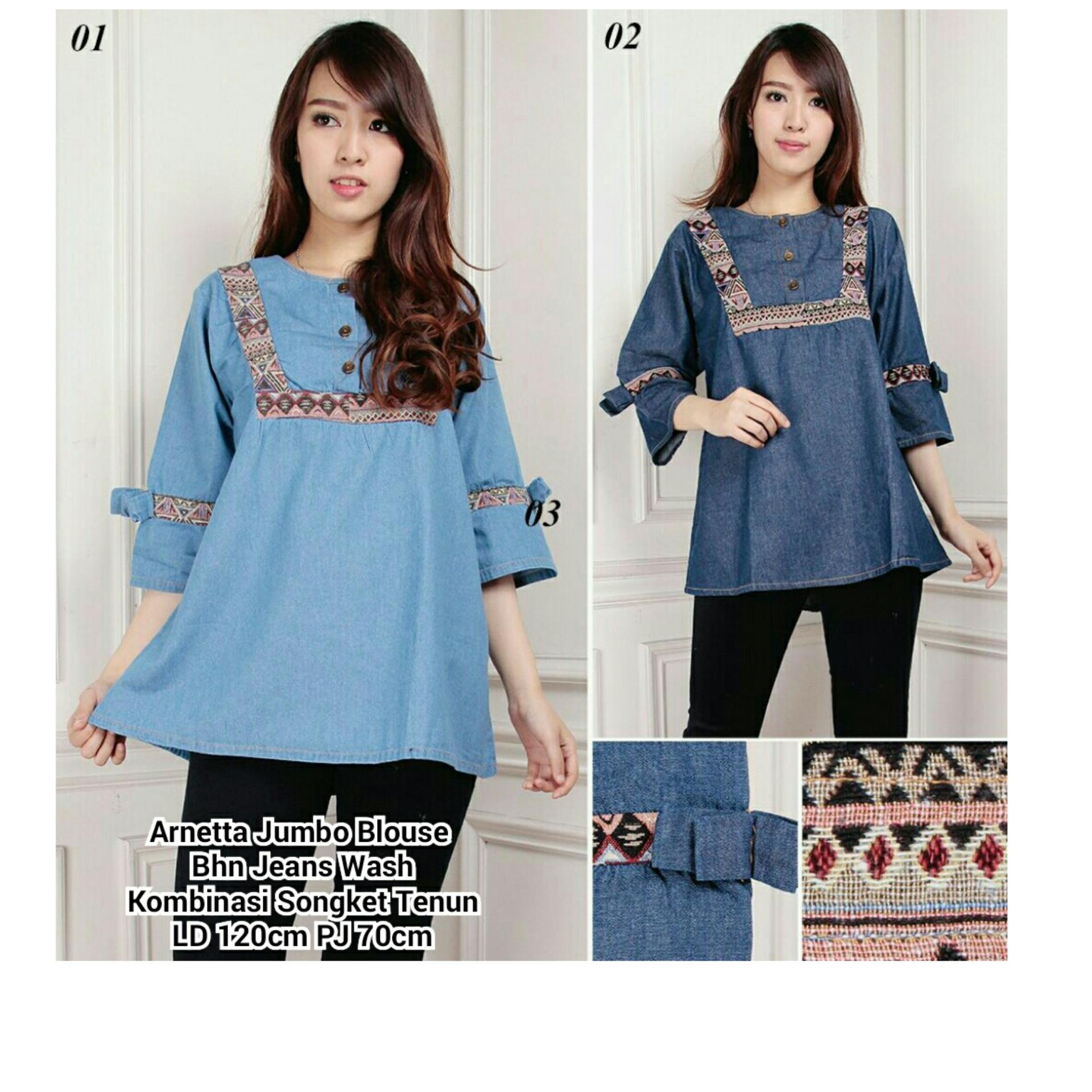 Jual 168 Collection Atasan Blouse Jumbo Anissa Kemeja Biru Tua Branded Murah