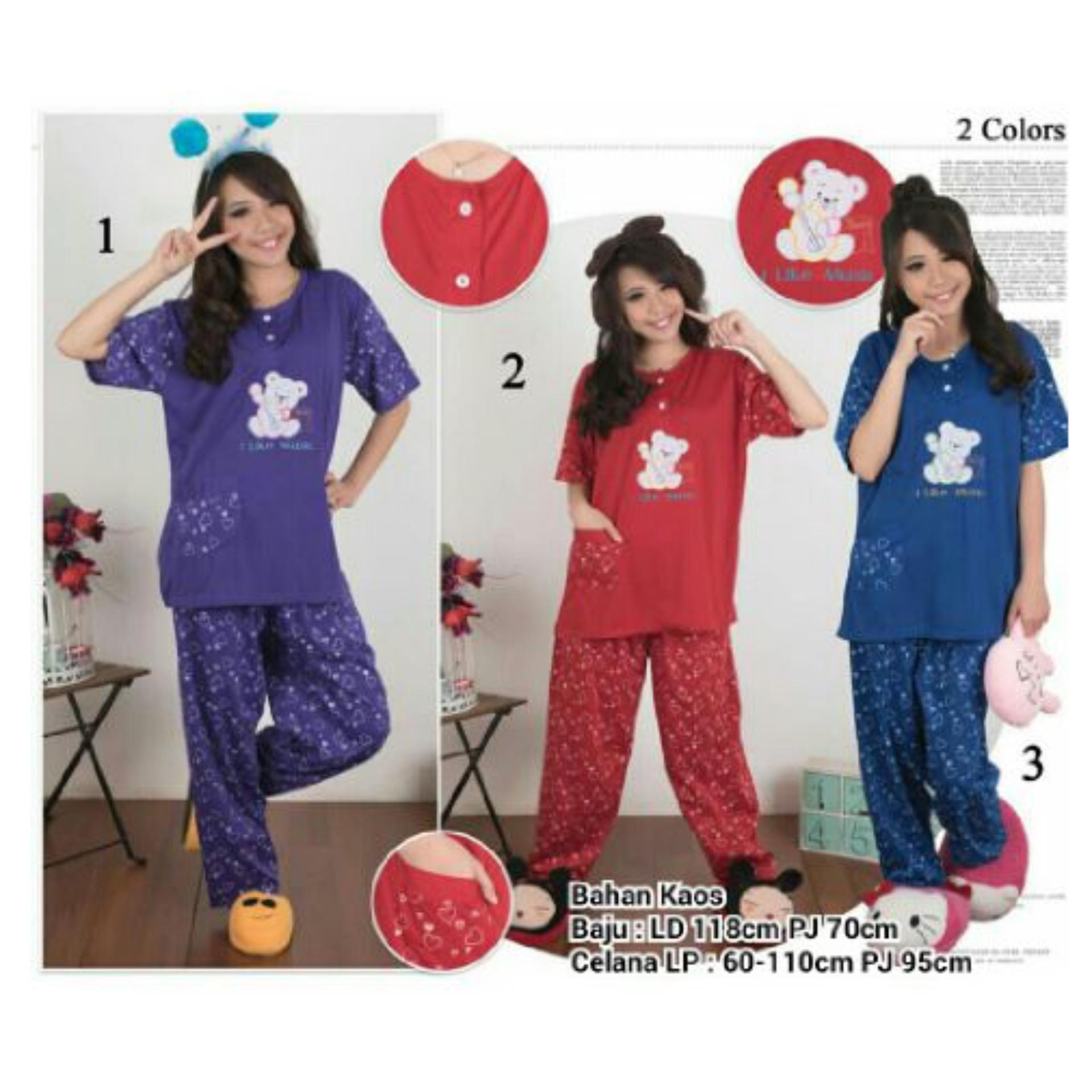 Harga 168 Collection Stelan Baju Tidur Jumbo Little Bear Piyama Navy Branded