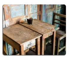 17P04655 Berkualitas Tinggi Kreativitas Mouse Alas Game Mouse Alas Antik Gaya Kursi dan Meja Di Kafe (Ukuran: 220*180*3 Mm)-Internasional