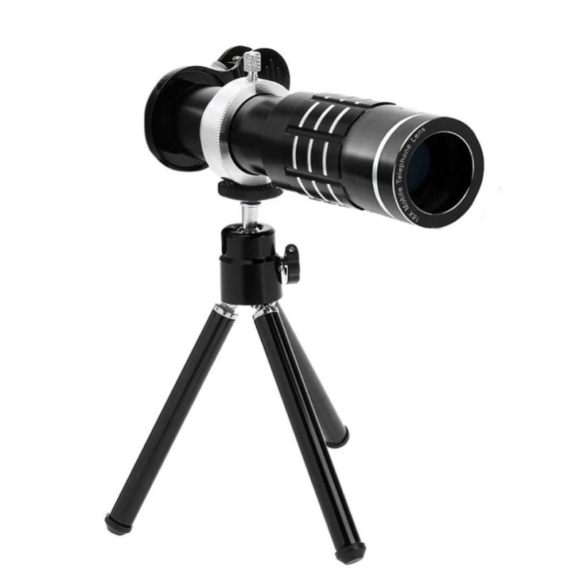 Harga Termurah 18X Zoom Phone Telescope Lensa Kamera Telephoto Tripod Lens Cover Hitam Intl