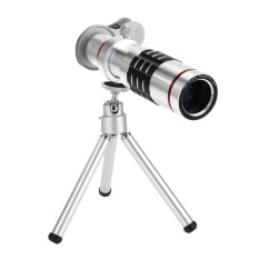 Iklan 18X Zoom Phone Telescope Telephoto Camera Lens Tripod Lens Cover Silver Intl