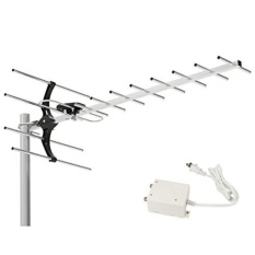 1 BYONE 80 Mil Digital Amplified Outdoor/Roof HDTV Antena dengan Power Supply Kotak, Performa Tinggi untuk UHF Band-Intl