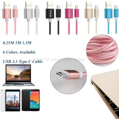 1m Aluminum Nylon USB 3.1 Type-C Charger Cable USB-C Cabel for Nexus 5x/LG G5/Huawei p9/Xiaomi mi4c/mi5/mi 5/HTC 10(Rose red)