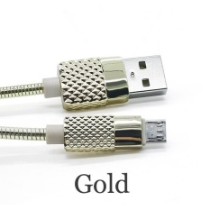 1 M Metal Jacket Lightning/Micro USB Kabel Sinkronisasi Data dan Pengisian Cepat Kabel Charger Fleksibel untuk IPhone 5 /5 S/6/6 Plus/6 S/7/7 Plus Samsung Ponsel Android Warna: Golden Model: Android-Intl