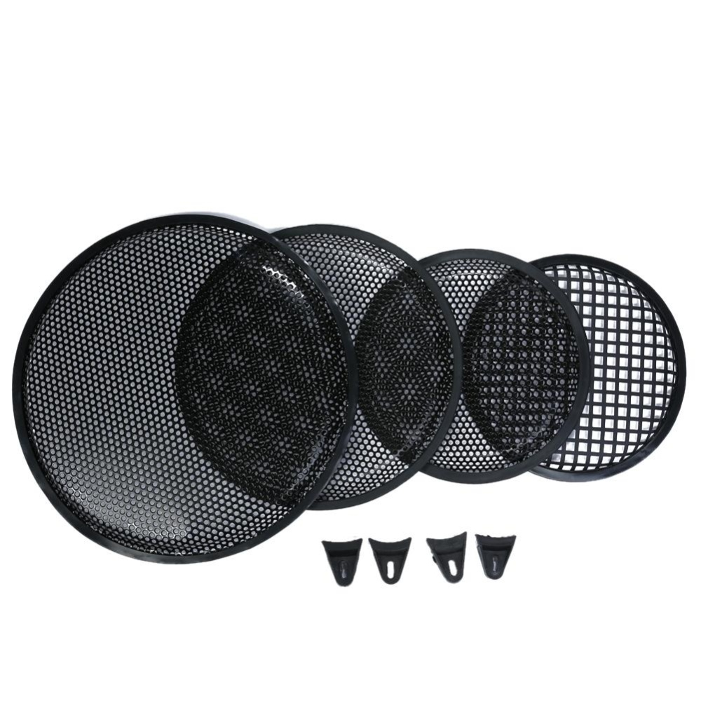 1Pc 8/10/12 inch Black Metal Mesh Round Car Subwoofer Speaker Cover Part(Black)-8inch - intl