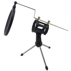 Beli 1 Pcs Hitam Desktop Mikrofon Stand Table Plastik Mini Mic Klip Tripod Holder Dengan Pop Filter Double Mesh Screen Intl Pakai Kartu Kredit