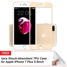 Jual Beli Online 1Pcs Byt Full Cover Tempered Glass For Apple Iphone 7 Plus 5 5Inch Gold 1Pcs 1Pcs Tpu Shock Absorbent Soft Cover Case For Apple Iphone 7 Plus 5 5Inch Clear