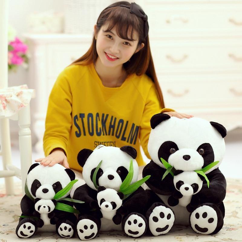 1 Pcs Lucu Lembut Sitting Mother dan Bayi Panda Anak Anak Boneka Boneka Boneka Boneka Gaya: duduk Tinggi Tinggi: 30 Cm