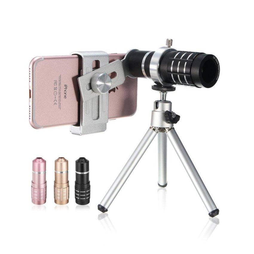 Beli 1 Set Zoom Teleskop Kamera Lensa Tele Kit Tripod Untuk Universal Mobile Phone Merah Muda Cicilan