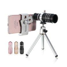 Ulasan 1 Set Zoom Teleskop Kamera Lensa Tele Kit Tripod Untuk Universal Mobile Phone Merah Muda