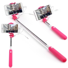 2 In 1 3.5mm Jack 8 Pin Selfie Stick Monopod Kawat Control Shutter Kamera untuk IPHONE 7/7 PLUS (Rose Red) -Intl