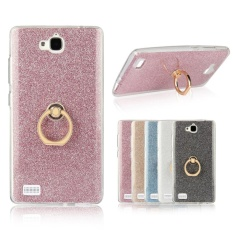 2 In 1 Glitter Bling Cetakan Fleksibel Soft TPU Pelindung Case Cover With Ring Holder Kickstand For HUAWEI Honor 3C