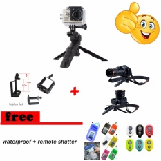 2 in 1 Portable Mini Folding Tripod for DSLR/Action Camera Or Smartphone + Holder U Free shutter remote bluetooth + Water Proof - Black