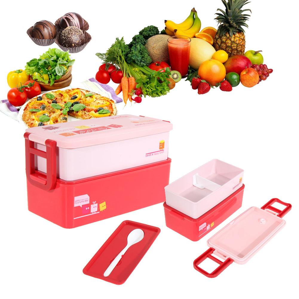 Toko 2 Layer Bento Lunch Box Untuk Makanan Wadah Makanan Keluarga Tableware 850 Ml Merah Termurah Tiongkok