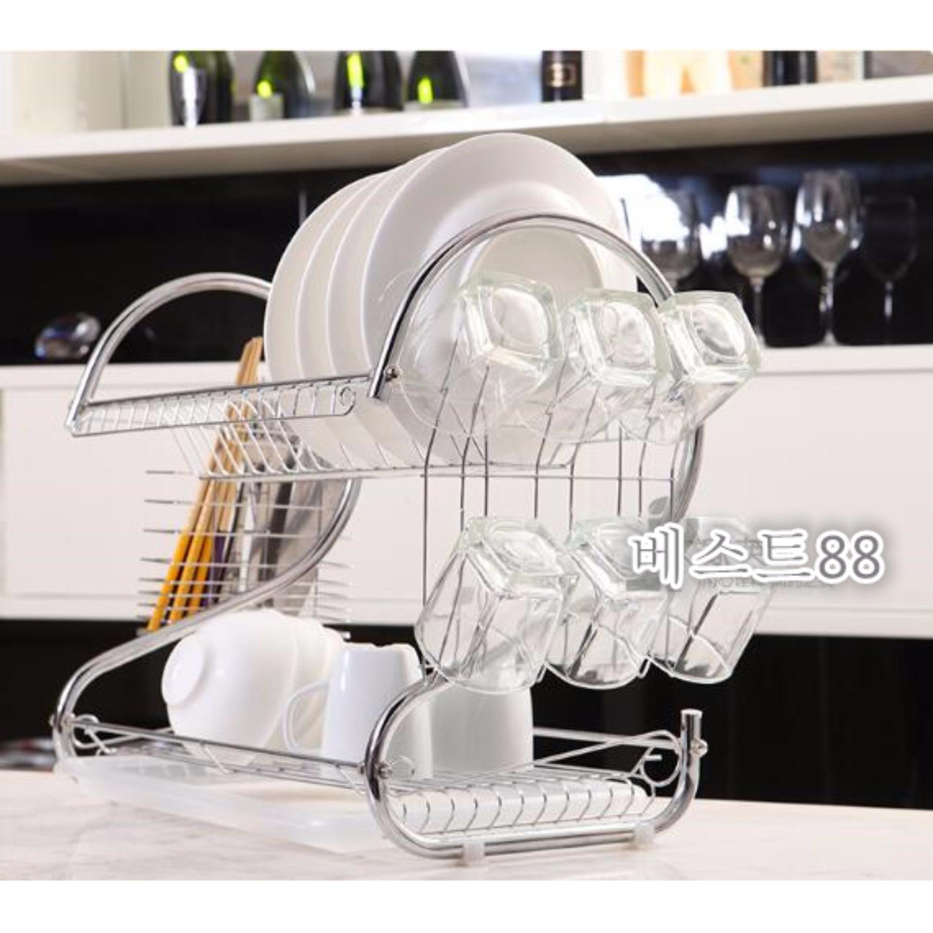 Diskon 2 Layers Dish Drainer Rak Tempat Piring 2 Susun Stainless Gelas Mangkok Branded