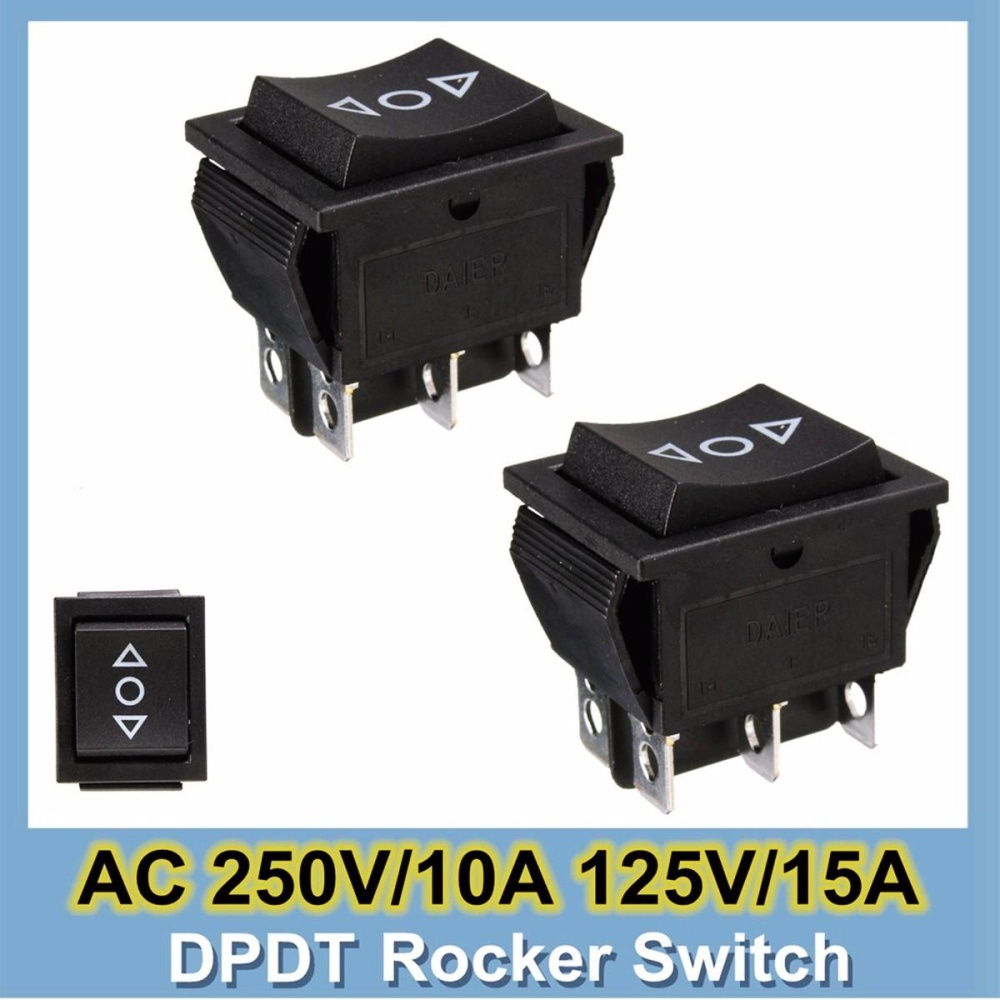 2 Pcs 12 Volt 6-Pin DPDT Power Window Sesaat Rocker Saklar AC 250 V/10A 125 V /15A-Intl
