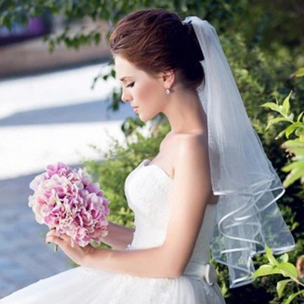 2 Pcs 3 Tier Pernikahan Bridal Siku Panjang Pendek Satin Pinggir Jilbab dengan Sisir Baru Hitam-Intl