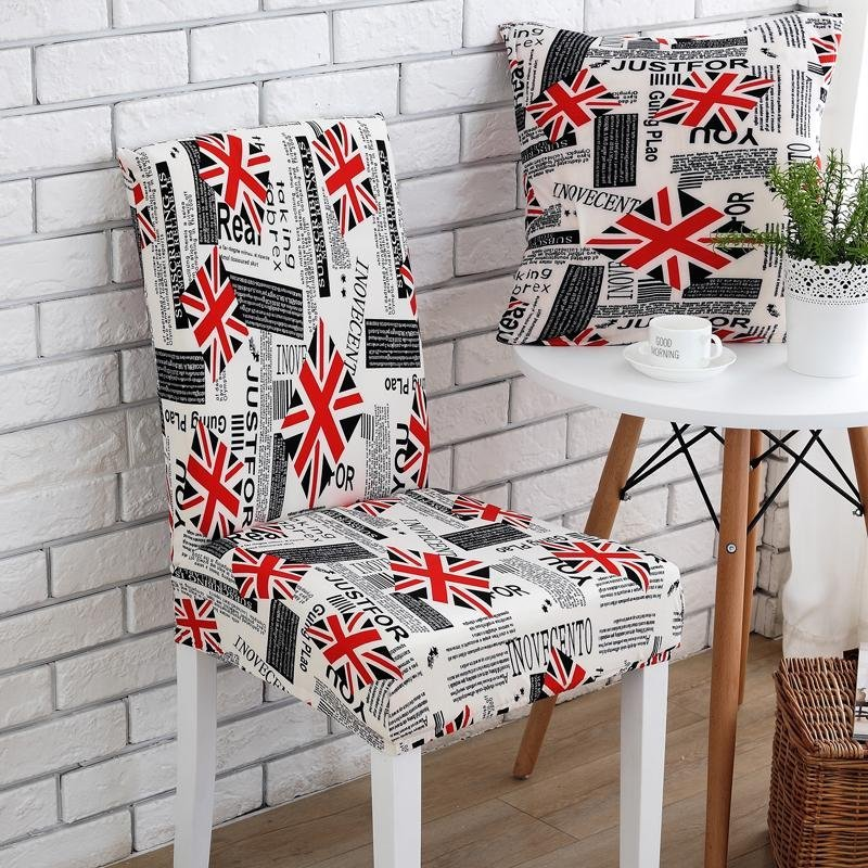 2pcs Check Flag Stretch Banquet Slipcovers Dining Room Chair Covers Seat Cover NO.4