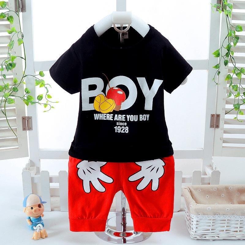 2 Pcs Kualitas Tinggi Fashion Anak Pakaian Set Laki-laki T-shirt + Celana Pendek Merahnya Tangan Pola Tops Hitam-Intl