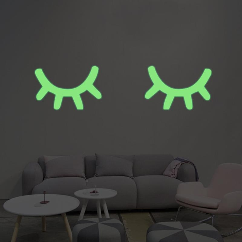 2 Pcs Luminous Wall Sticker Home Decor Glow In The Dark Bulu Mata Mata Tertutup Decal-Intl