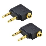 Harga 2 Buah Monster Berlapis Emas Pesawat Konverter Audio Headphone And Adaptor For Double 3 5Mm Plug For Mono 3 5Mm Jack Stereo Saluran Ganda Mengs Original