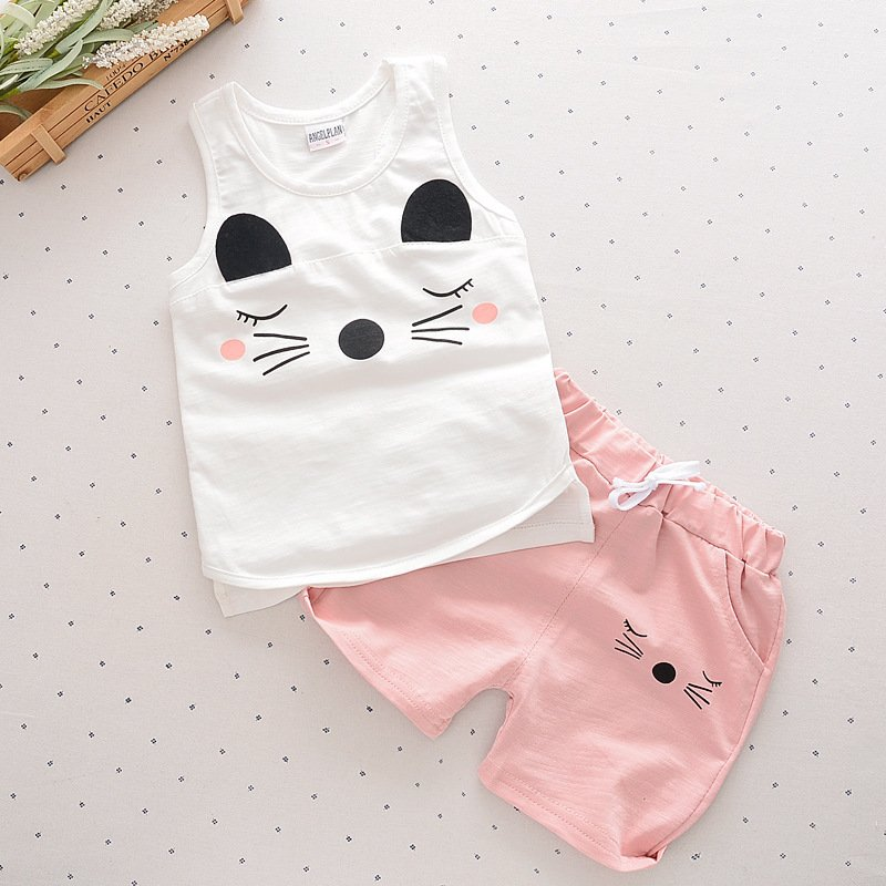 2 Pcs Musim Panas Anak Perempuan Anak Laki Laki Pakaian Set Fashion Kartun Bayi Kostum Shorts Kids Pakaian Putih Intl Oem Murah Di Tiongkok