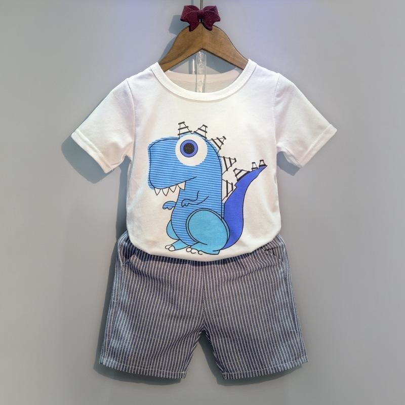 2 Pcs Panas Musim Fashion Boys Cotton T-shirt + Celana Pendek Pakaian Set Pakaian Anak-anak Balita Baby Boy -Dinosaurus