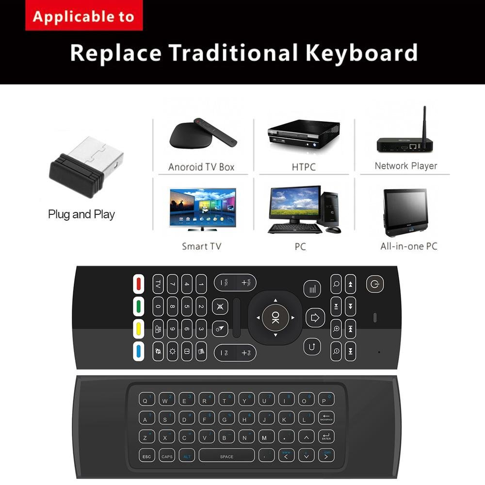 Diskon 2 4G Backlight Air Mouse Wireless Keyboard 6 Sumbu Axis Remote Control Motion Sensing Game Ir Tombol Belajar Intl