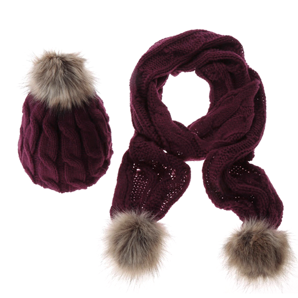 Spesifikasi 2015 Winter Warm Rajutan Hat Set Wanita Menebal Faux Fur Hat Scarf Merah Anggur Internasional Baru