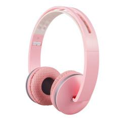 2016 Kualitas Tinggi Stereo headphone Lipat Ringan Yang Dapat Bando Headset With Mikrofon And Kontrol Volume 3,5mm For handphone smartphone IPhone Laptop MP3/4 earphone (berwarna Merah Muda)