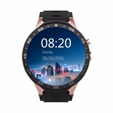2016 Baru Bluetooth Bisa Dipakai Perangkat KW88 Jam Jam Tangan Pintar Android 5.1 Quad Core 1.3 GHz ROM 1G + Ram 8G Wifi 3G Jam Tangan Pintar untuk IOS Android (Emas) -Intl