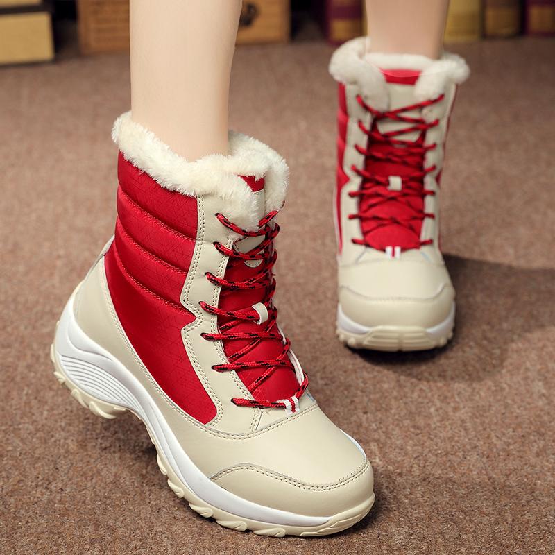 Harga 2016 Wanita Salju Sepatu Bot Musim Dingin Hangat Boots Padat Slip Ankle Boots Untuk Wanita Tebal Dengan Bulu Merah Intl Branded
