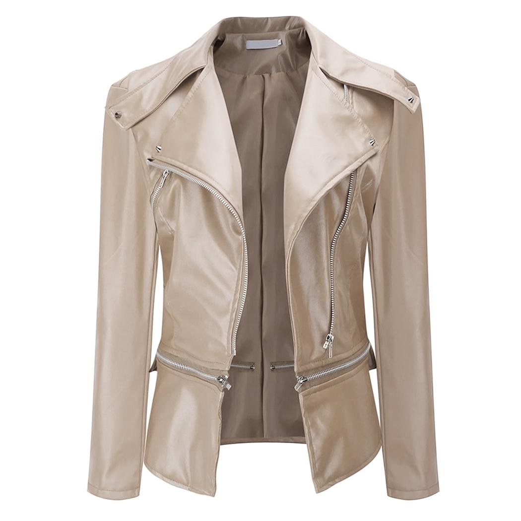 Spesifikasi 2017 Baru Fashion Wanita Slim Biker Motor Soft Kulit Sintetis Zipper Jaket Mantel Khaki Intl Yang Bagus
