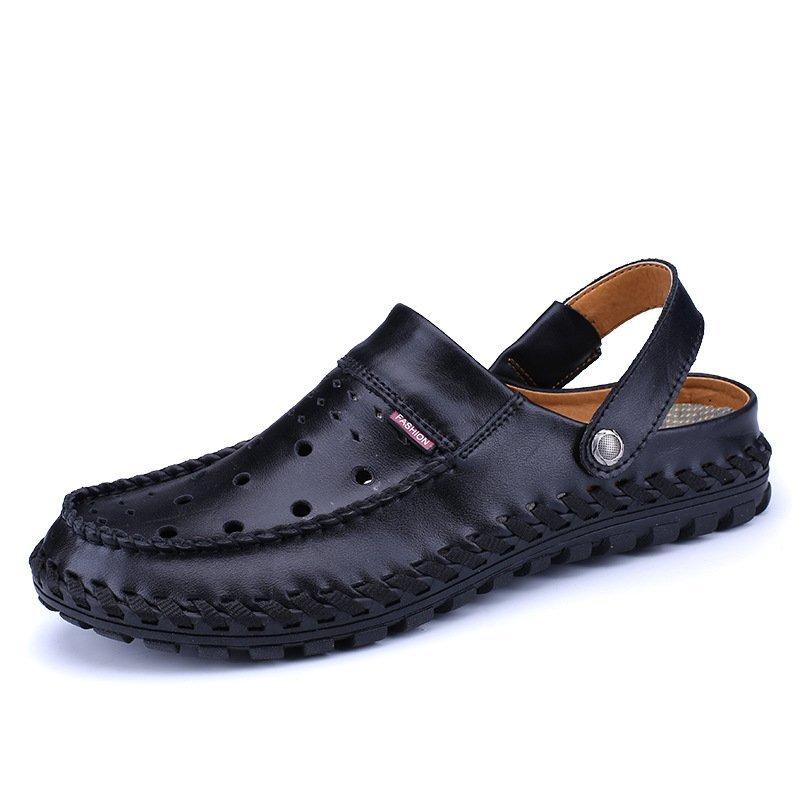 2017 Baru Musim Panas Sepatu Pria Datar Kulit Sporty Velcro Sandal Sandal Sepatu Fashion Kulit Sandal