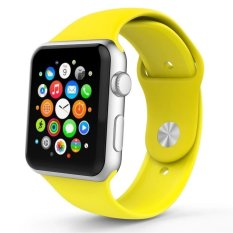 2017 Cocoa Tali Silikon untuk Apple Watch 42mm Band Sport Watchband untuk Apple Watch (Kuning)-Intl