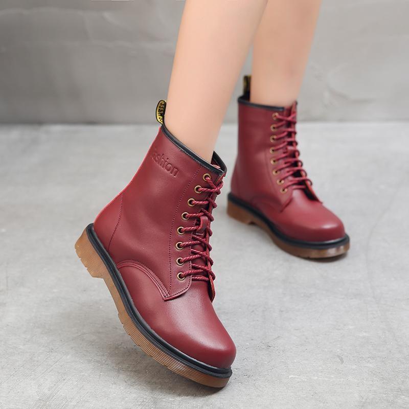 Toko Jual 2017 Musim Gugur Dan Musim Dingin Baru Wanita Martin Boots British Wind Sepatu Flat Shoes Boots Nyaman Kenyamanan Boots Intl