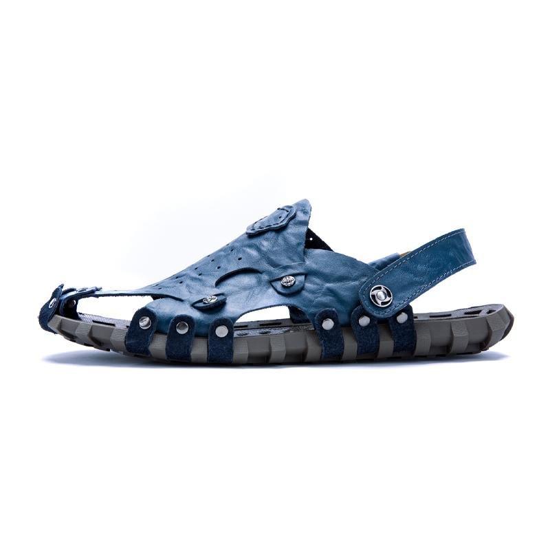 Harga 2017 Pria Kulit Sandal Baru Sandal Pria Musim Panas Sandal Terkena Toe Sepatu Kasual Pria Beach Intl Oem Baru