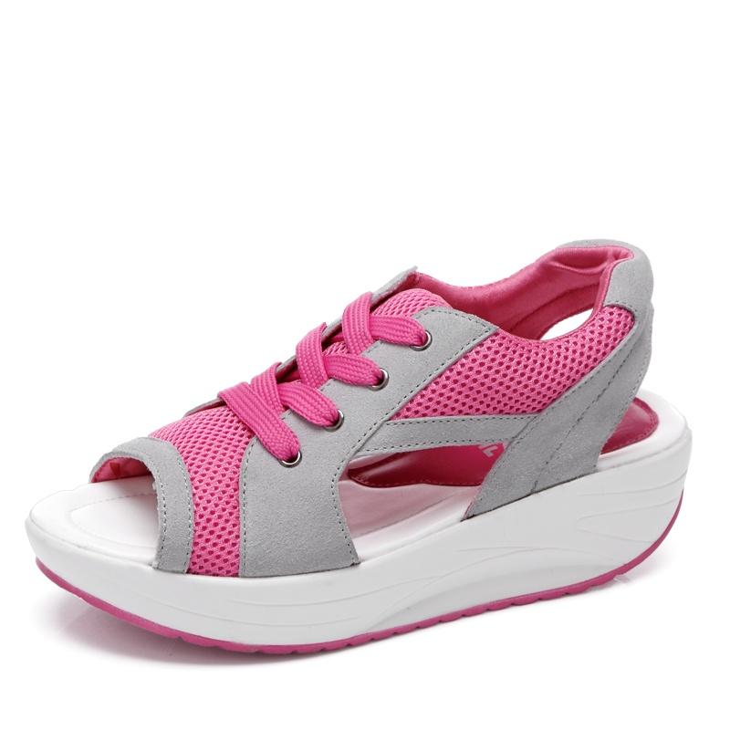 Beli 2017 Wanita Fashion Musim Panas Sandal Air Net Kain Ikan Mulut Sepatu Shake Sepatu Meningkatkan Rekreasi Sepatu Intl Cicilan