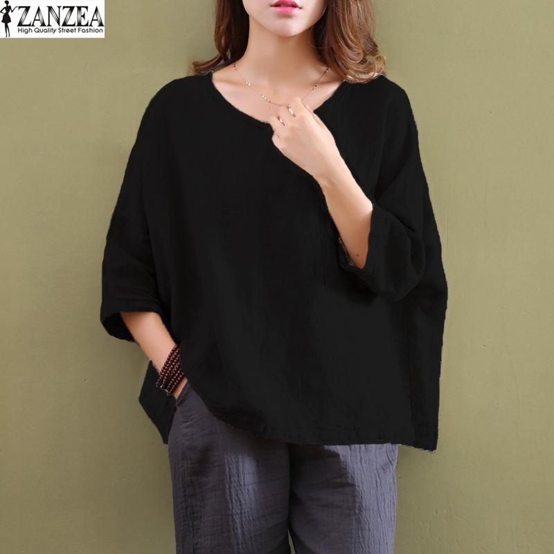 Situs Review 2017 Zanzea Women Crew Neck 3 4 Sleeve Tops Blusas Summer Ladies Casual Loose Cotton Solid Top Blouse Shirt Plus Size S 5Xl Black Intl